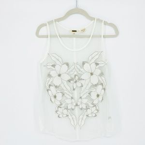 Miss Me Sheer White Embroidered Floral Top Size M